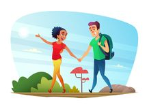 Happy couple of lovers has a journey in nature. Design of cartoon characters. Vector Illustration