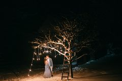 Happy couple of lovers spend romantic evening together royalty free stock images