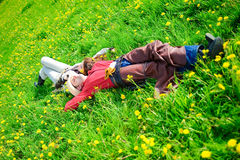Happy couple lying on a grass Royalty Free Stock Photo
