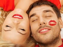 Happy couple lying at home with closed eyes Royalty Free Stock Photography