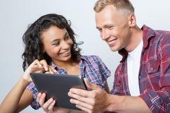 Happy couple making photos Stock Photography