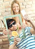 Happy couple making selfie Stock Photos