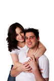 Happy couple - man and woman. Cute happy Caucasian Hispanic couple, handsome man and beautiful woman together, isolated royalty free stock image