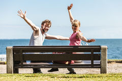 Happy couple man and woman dating outdoor. Royalty Free Stock Photos