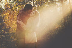 Happy Couple Man and Woman Kissing and Hugging Stock Photography