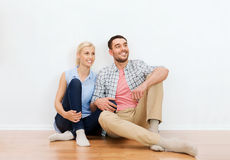 Happy couple of man and woman to new home Royalty Free Stock Images