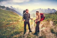 Happy Couple Man and Woman Travelers Stock Photo
