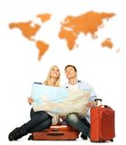 Happy couple with map Stock Image