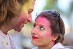 Happy couple. Happy a married couple at the festival of colors Holi Stock Image