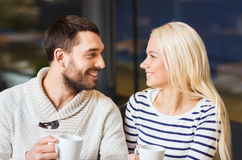 Happy couple meeting and drinking tea or coffee Stock Photography