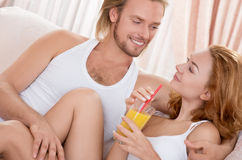 Happy  couple at  morning Stock Photos
