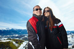 Happy couple in the mountains Stock Photos