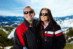 Happy couple in the mountains Royalty Free Stock Photos