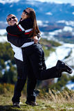Happy couple in the mountains Stock Image