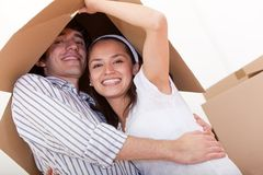 Happy couple moving Royalty Free Stock Image