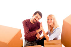 Happy Couple on Moving Stock Photography