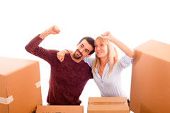 Happy Couple on Moving Stock Photos