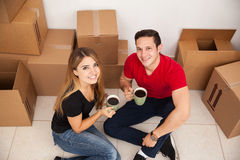 Happy couple moving in Stock Photos