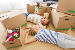 Happy couple moving into new apartment Royalty Free Stock Photos