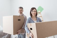 Couple moving into a new house royalty free stock images