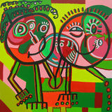 Happy couple naive painting stock image