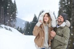 Happy couple near conifer forest on snowy day stock photo