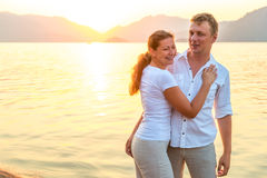 Happy couple near the sea Stock Photography