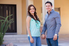 Happy couple with a new home Stock Photo