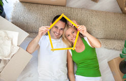Happy couple in new home Royalty Free Stock Photo