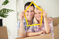 Happy couple in new house Royalty Free Stock Photos