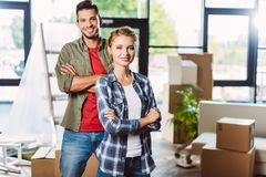 Happy couple in new house Stock Images