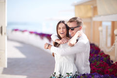 Happy Couple On A Sunny Shore Background. Romantic And Luxurious Relationship. Romance, Relationship And Dating. Cop Royalty Free Stock Image