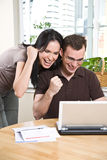 Happy couple online banking Royalty Free Stock Photography