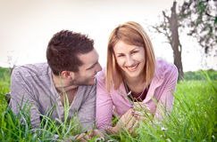 Happy couple  outdoor in park. Royalty Free Stock Images