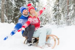 Happy couple outdoor in winter Royalty Free Stock Images