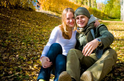 Happy couple outdoors. Autumn photo Stock Photo