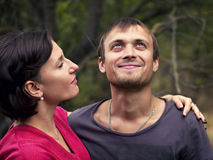 A happy the couple outdoors royalty free stock photography