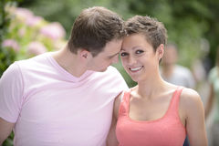 Happy couple outdoors flirting Royalty Free Stock Photo