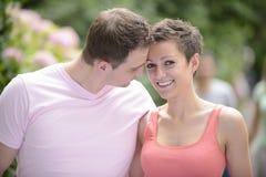 Happy couple outdoors flirting royalty free stock photo