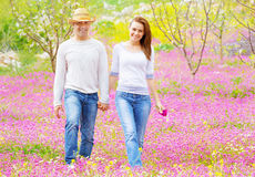 Happy couple outdoors Royalty Free Stock Image