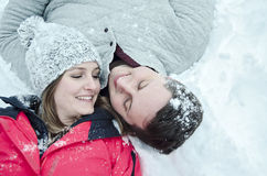 Happy couple outdoors in winter Royalty Free Stock Images