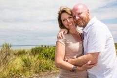 Happy couple outside Stock Photo