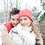Happy couple outside in winter Stock Photos
