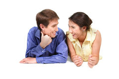 Happy couple over white Stock Photos