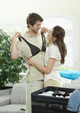 Happy couple packing Royalty Free Stock Images