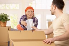Happy couple packing boxes Stock Photos