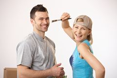 Happy couple painting together Royalty Free Stock Photo