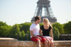 Happy couple in Paris Stock Photo
