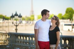 Happy couple in Paris royalty free stock photography