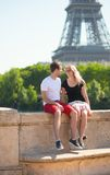 Happy couple in Paris stock images